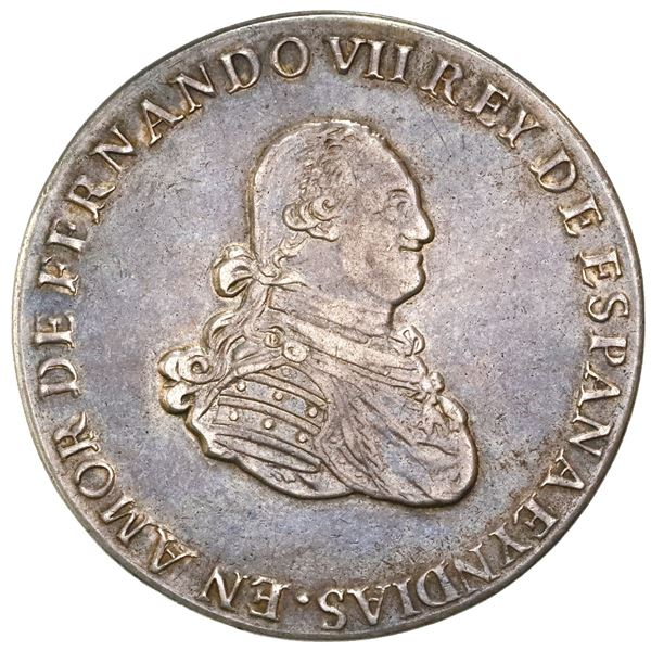 Bogota, Colombia, 8 reales proclamation medal, Ferdinand VII (bust of Charles IV), 1808, from the me