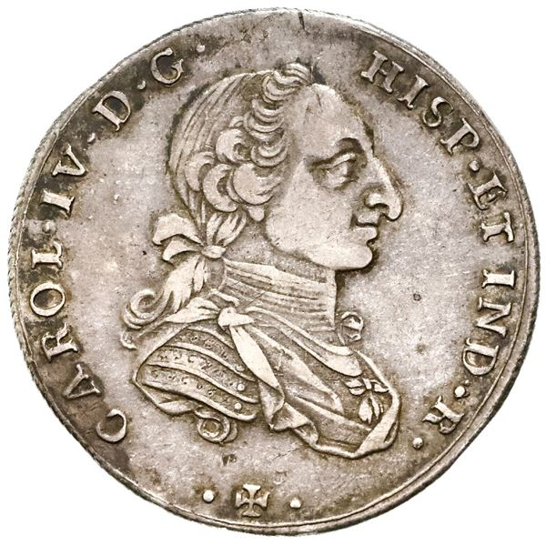 Bogota, Colombia, 4 reales proclamation medal, Charles IV (bust of Charles III), 1789, with CAICEDO,