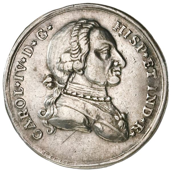 Cartagena, Colombia, 4 reales proclamation medal, Charles IV (bust of Charles III), 1789, plain edge