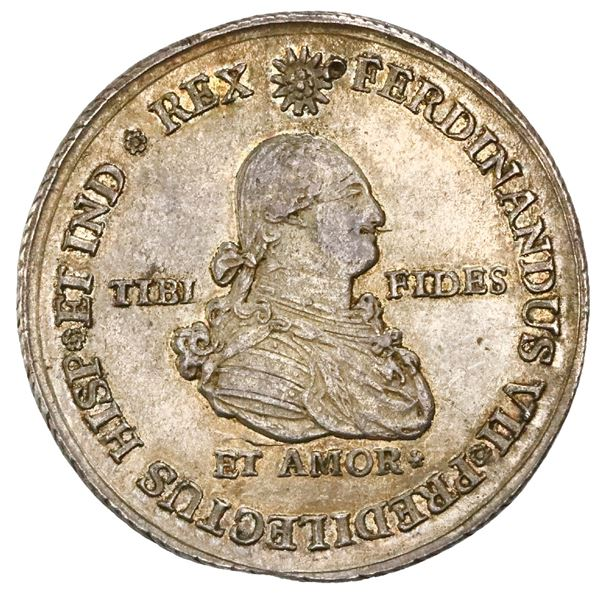 Popayan, Colombia, 4 reales proclamation medal, Ferdinand VII (bust of Charles IV), 1808, corded edg