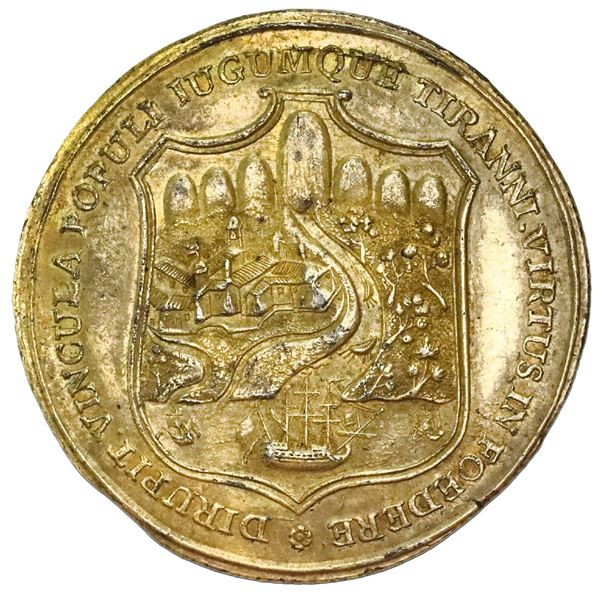 Popayan/Cali, Colombia, gilt silver 4 reales proclamation medal, 1811, liberation by Baraya, corded