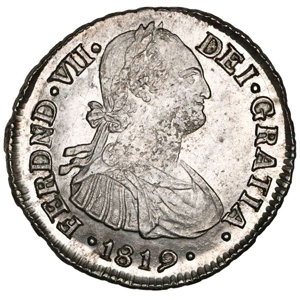 Popayan, Colombia, bust 2 reales, Ferdinand VII (bust of Charles IV), 1819MF, NGC MS 62+, finest kno