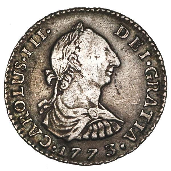 Bogota, Colombia, bust 1 real, Charles III, 1773VJ, with dot between assayers' initials, NGC VF deta