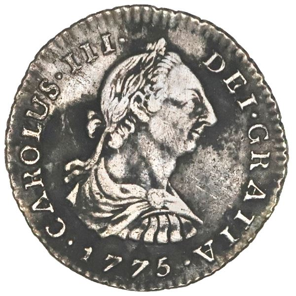 Bogota, Colombia, bust 1 real, Charles III, 1775JJ, rare, NGC XF details / environmental damage, Res