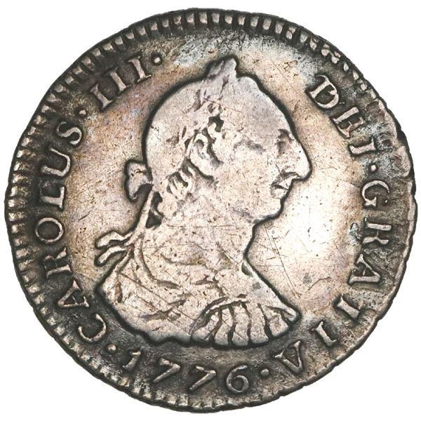 Bogota, Colombia, bust 1 real, Charles III, 1776JJ, NGC VF details / environmental damage.
