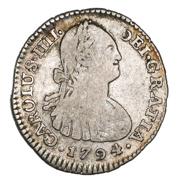Bogota, Colombia, bust 1 real, Charles IV, 1794/3JJ, very rare, NGC VG 10, finest known in NGC censu