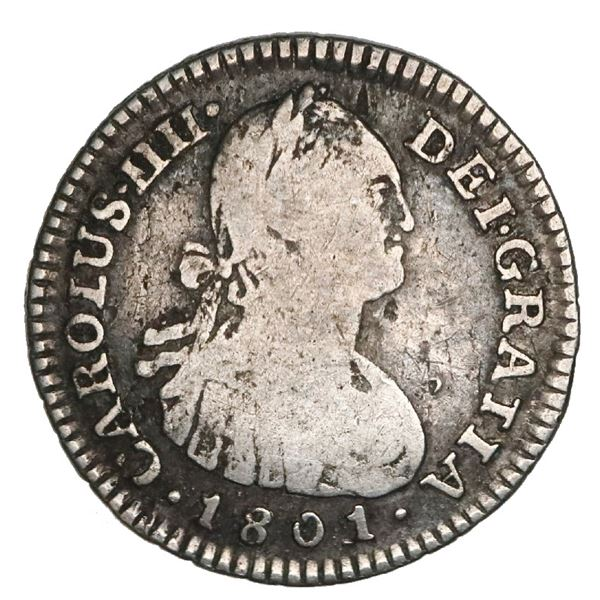 Bogota, Colombia, bust 1 real, Charles IV, 1801/799JJ, extremely rare, NGC VG 8, finest and only exa
