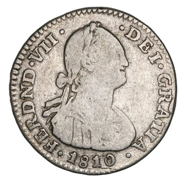 Bogota, Colombia, bust 1 real, Ferdinand VII (bust of Charles IV), 1810JJ, rare, NGC VG 8, finest kn