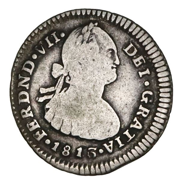 Popayan, Colombia, bust 1 real, Ferdinand VII (bust of Charles IV), 1813/0JF, very rare, NGC VG 8, f
