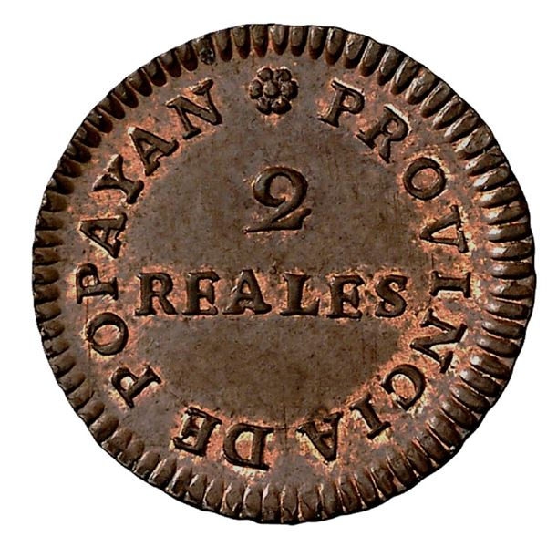 Popayan, Colombia, copper 2 reales, Ferdinand VII, 1813 (large date), NGC MS 65 BN, finest known in