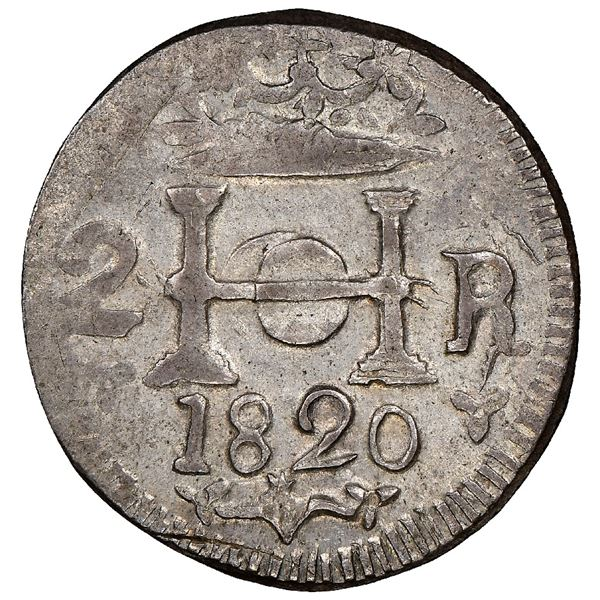 Santa Marta, Colombia, 2 reales, 1820, very rare, NGC AU 58, finest known in NGC census, ex-Ortiz, e