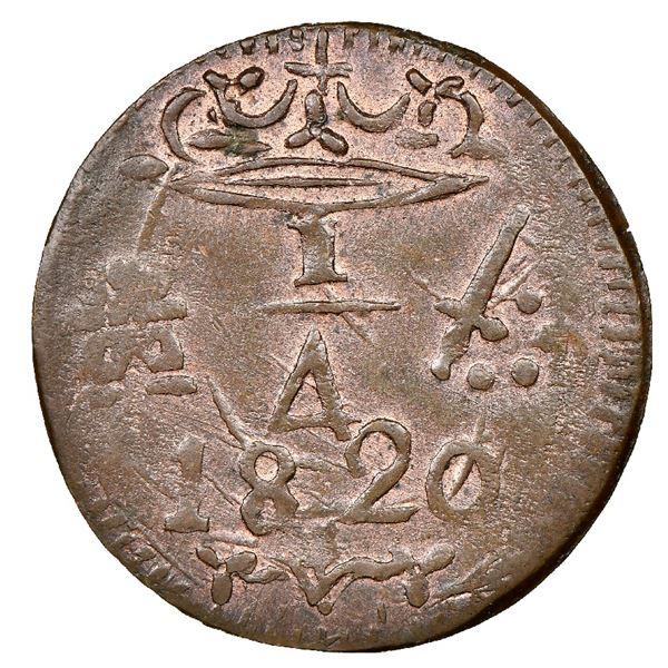 Santa Marta, Colombia, copper 1/4 real, 1820, NGC MS 63 BN.