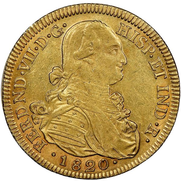 Bogota, Colombia, gold bust 8 escudos, Ferdinand VII (bust of Charles IV), 1820JF, NGC AU 58.