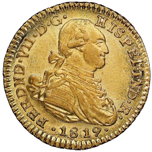 Bogota, Colombia, gold bust 1 escudo, Ferdinand VII (bust of Charles IV), 1819JF, NGC MS 62, finest