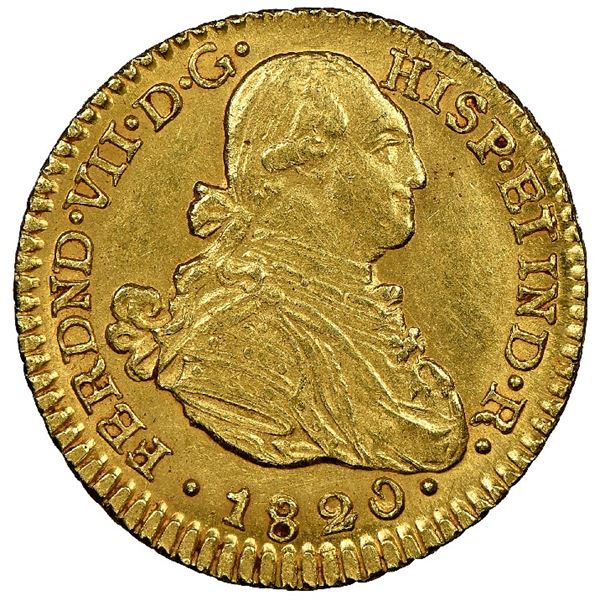 Bogota, Colombia, gold bust 1 escudo, Ferdinand VII (bust of Charles IV), 1820JF, NGC MS 62, finest