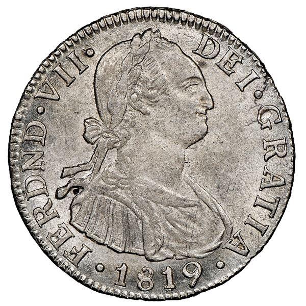 Bogota, Colombia, bust 2 reales, Ferdinand VII (bust of Charles IV), 1819FJ, NGC AU 58.