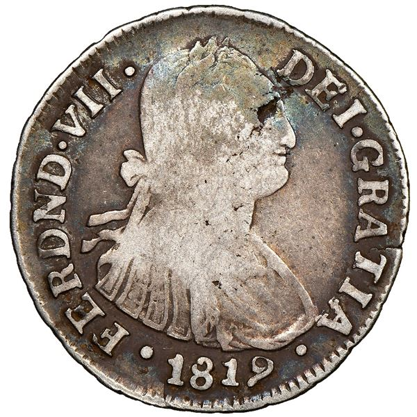 Popayan, Colombia, bust 2 reales, Ferdinand VII (bust of Charles IV), 1819MF, NGC VG 8, finest and o