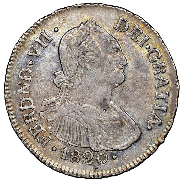 Popayan, Colombia, bust 2 reales, Ferdinand VII (bust of Charles IV), 1820FM, NGC AU 53, finest know