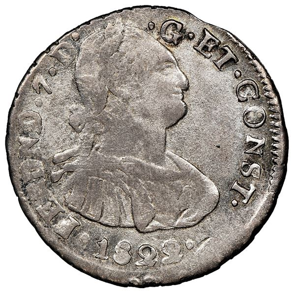 Pasto, Colombia, bust 2 reales, Ferdinand VII (bust of Charles IV), 1822O, two dots to right of date