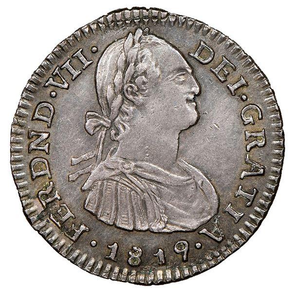 Bogota, Colombia, bust 1 real, Ferdinand VII (bust of Charles IV), 1819FJ, inverted J, NGC AU 58, fi