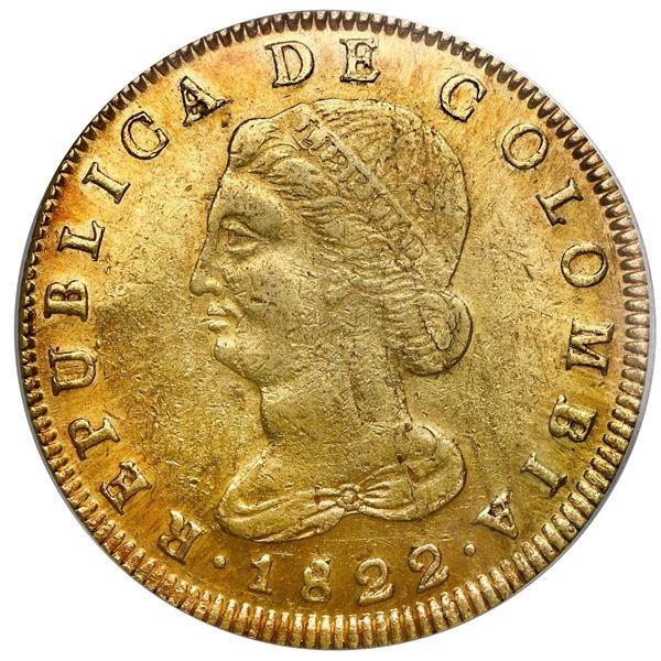 Bogota, Colombia, gold 8 escudos, 1822JF, PCGS AU55.