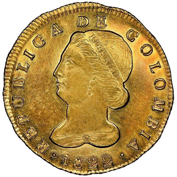 """Popayan, Colombia, gold 8 escudos, 1822FM, NGC MS 61 (""""top pop""""), ex-Eldorado."""