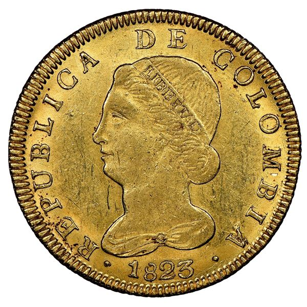 Bogota, Colombia, gold 8 escudos, 1823JF, NGC MS 62, finest known in NGC census.
