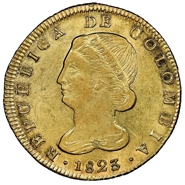 """Popayan, Colombia, gold 8 escudos, 1823FM, NGC AU 58 (""""top pop""""), ex-Millennia (stated on label)."""