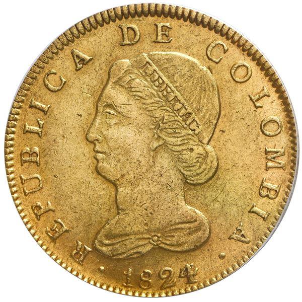 Bogota, Colombia, gold 8 escudos, 1824/3JF, PCGS AU55.