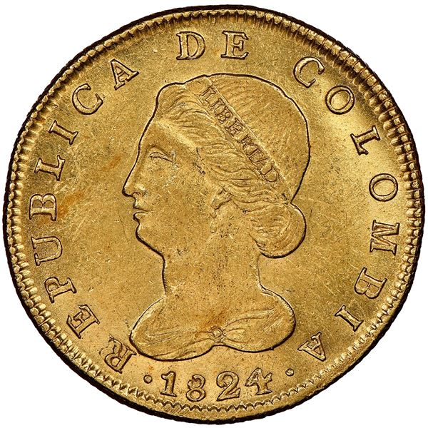 """Bogota, Colombia, gold 8 escudos, 1824JF, NGC MS 62 (""""top pop""""), ex-Frank Sedwick (stated on label)."""