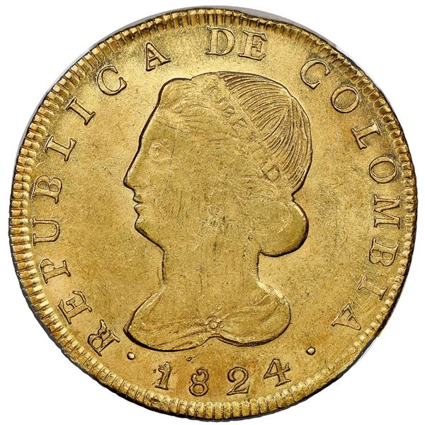 Popayan, Colombia, gold 8 escudos, 1824FM, NGC MS 61.