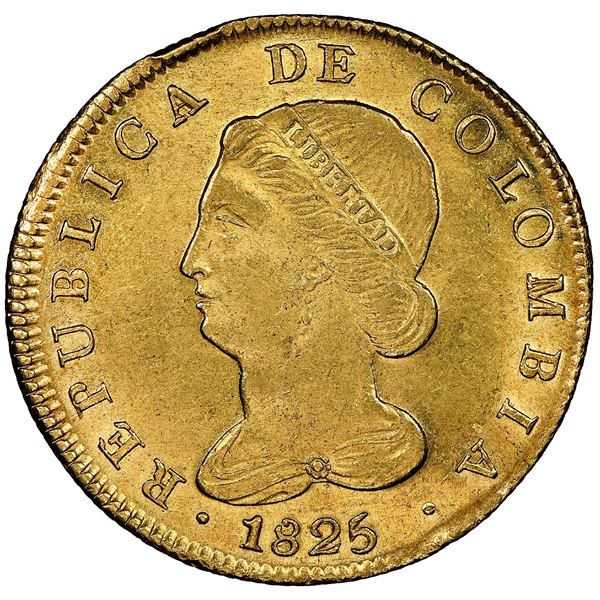 Bogota, Colombia, gold 8 escudos, 1825JF, NGC MS 62, finest known in NGC census.
