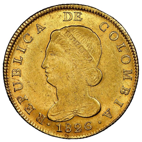 Bogota, Colombia, gold 8 escudos, 1826JF, NGC MS 62.
