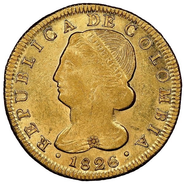 Popayan, Colombia, gold 8 escudos, 1826FM, NGC AU 55, finest known in NGC census, ex-Frank Sedwick (