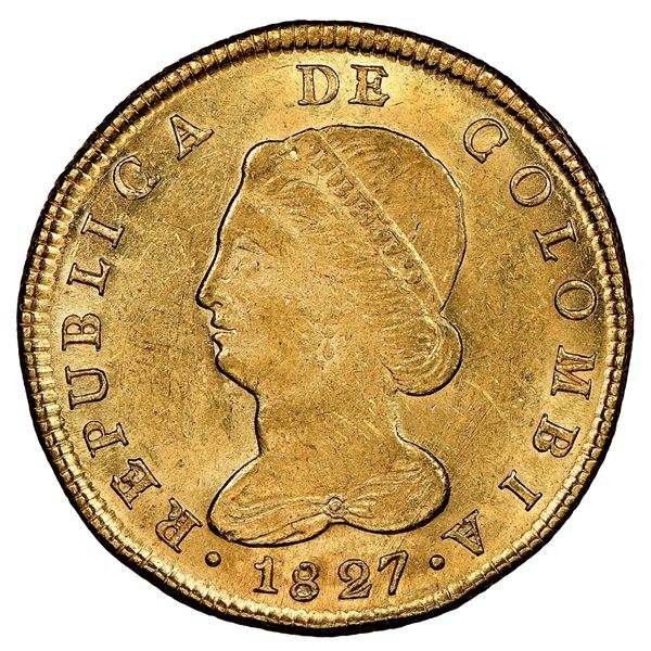 """Bogota, Colombia, gold 8 escudos, 1827JF, NGC MS 61 (""""top pop""""), ex-Millennia (stated on label)."""