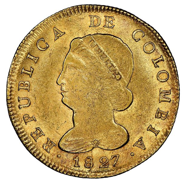 Bogota, Colombia, gold 8 escudos, 1827RR, NGC MS 62, finest known in NGC census, ex-Frank Sedwick (s