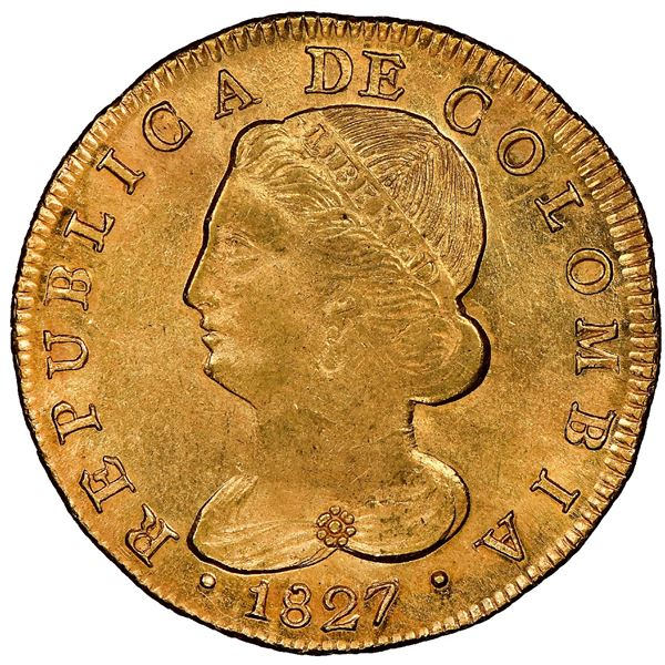 """Popayan, Colombia, gold 8 escudos, 1827FM, NGC MS 62 (""""top pop""""), ex-Eldorado (stated on label)."""
