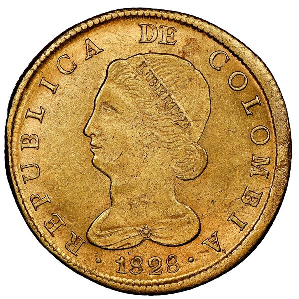 Bogota, Colombia, gold 8 escudos, 1828RR, NGC AU 58, finest known in NGC census.