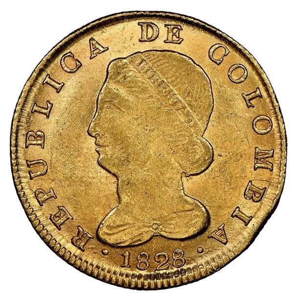 Bogota, Colombia, gold 8 escudos, 1828RS, NGC MS 62, finest known in NGC census.