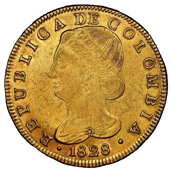 Popayan, Colombia, gold 8 escudos, 1828FM, NGC AU 55.