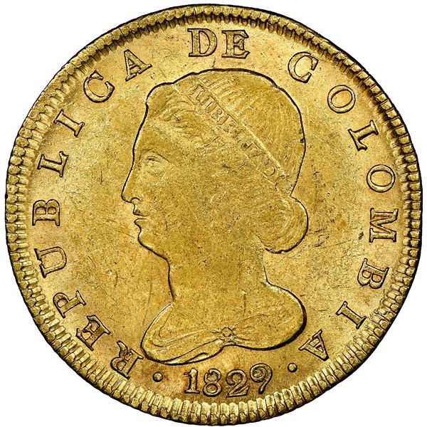 Bogota, Colombia, gold 8 escudos, 1829RS, NGC MS 62, finest known in NGC census.