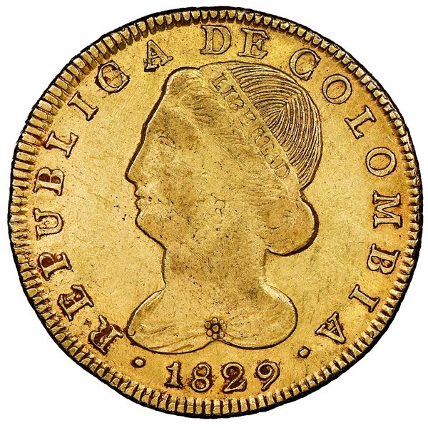 Popayan, Colombia, gold 8 escudos, 1829FM, NGC XF details / surface hairlines.