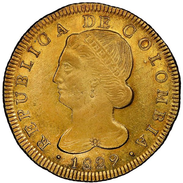 Popayan, Colombia, gold 8 escudos, 1829UR, NGC MS 62, finest known in NGC census, ex-Eldorado (state