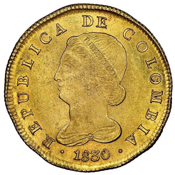 Bogota, Colombia, gold 8 escudos, 1830RS, NGC MS 62.