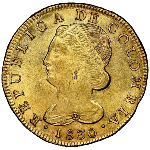 Popayan, Colombia, gold 8 escudos, 1830UR, NGC MS 64, finest known, ex-Eliasberg (stated on label).