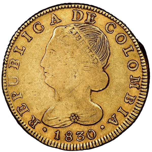 """Popayan, Colombia, gold 8 escudos, 1830FM, rare, NGC VF 25 (""""top pop"""")."""