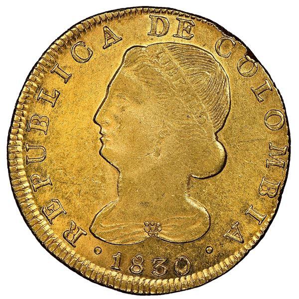 Popayan, Colombia, gold 8 escudos, 1830FW (inverted M), rare, NGC AU 58, finest known, ex-Eldorado (