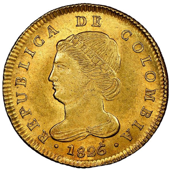 Bogota, Colombia, gold 4 escudos, 1826JF, very rare, NGC MS 64, finest known, ex-Eliasberg, ex-Lissn