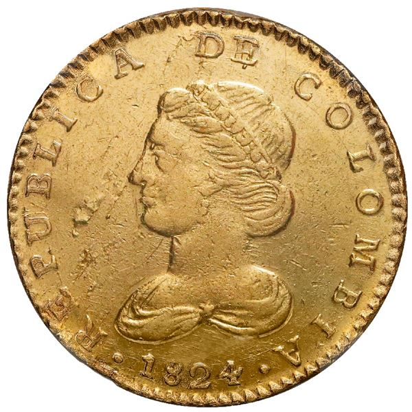 Bogota, Colombia, gold 2 escudos, 1824JF, rare, NGC XF 45 / SS New York (1846).