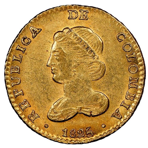Bogota, Colombia, gold 2 escudos, 1825JF, rare, NGC MS 62, finest known in NGC census.